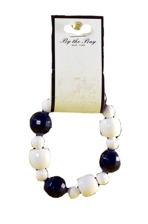 By The Bay Navy White Bead Stretch Slip On Bracelet