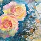 "Rose Courts the Shade'11""x15""Original Fine Art Watercolor painting wall art and home décor"