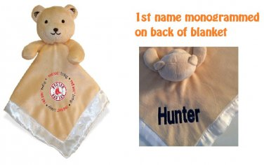 Boston RED SOX MLB Comfort Security Bear Security Blanket Crib toy Lovey Free Monogram