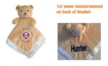 Philadelphia PHILLIES MLB Comfort Security Bear Blanket Crib toy Lovey Free Monogram