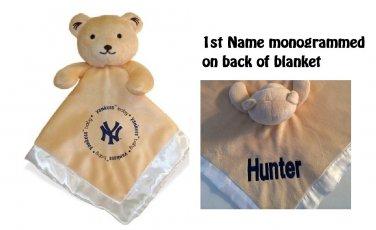 New York YANKEES MLB Comfort Security Bear Security Blanket Crib toy Lovey Free Monogram