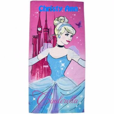 Disney Cinderella Glass Slipper Beach Towel - Free Monogram