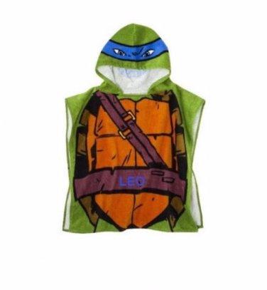 TMNT Teenage Mutant Ninja Turtles Boy's Hooded Towel Poncho Leo - Free Monogram