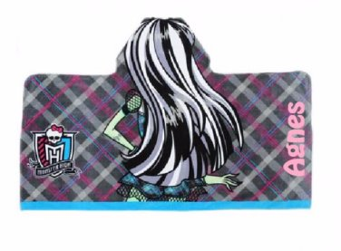 Monster High Frankie Themed Girl's Hooded Beach Towel Wrap - Personalized