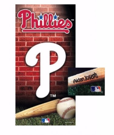 Baseball MLB Philadelphia PHILLIES Beach Towel Personalized