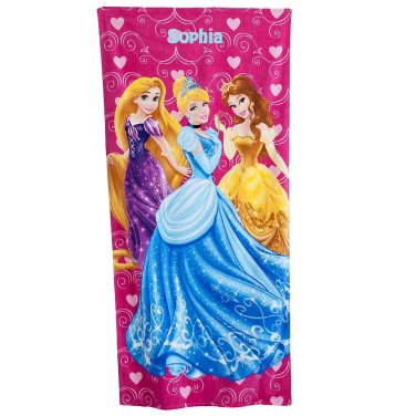 Disney Princess Hearts Beach Towel, Pink - Personalized