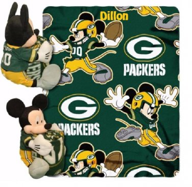 Disney Mickey Mouse NFL Green Bay PACKERS Fleece Throw Blanket & Plush Mickey - Personalized