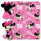 Disney Minnie Mouse NFL NY GIANTS Cheerleader Fleece Throw Blanket & Hugger - Personalized