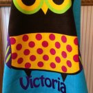OWL design Hooded Cotton Beach Towel Bath Wrap Personalized