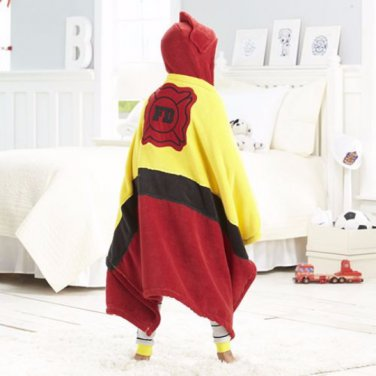 KIDS Fireman Fire Fighter Hooded Microplush Throw Blanket, Personalized