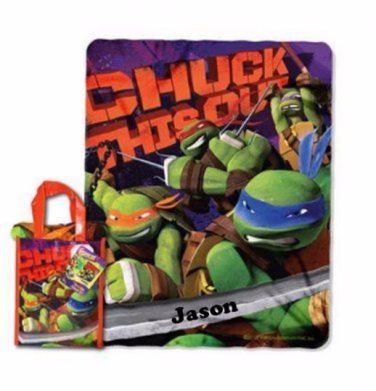 TMNT Teenage Mutant Ninja Turtles Blanket Throw & Tote Set ''Chuck this Out'' Personalized