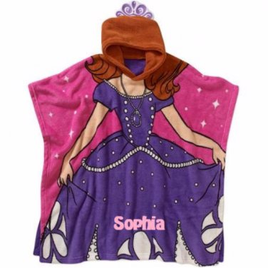 Sofia the First Princess Super Soft Plush Fleece Hooded Poncho Blanket, Personalized