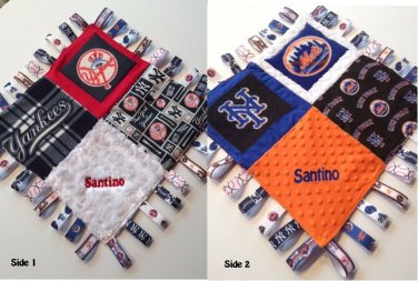 "Yankess METS Combo Sensory Ribbon Security Blanket Lovey Tags 16""x16"" BASEBALL Team inspired"