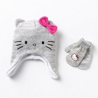 Hello Kitty Face Hat & Mittens Set - Toddler - Personalized