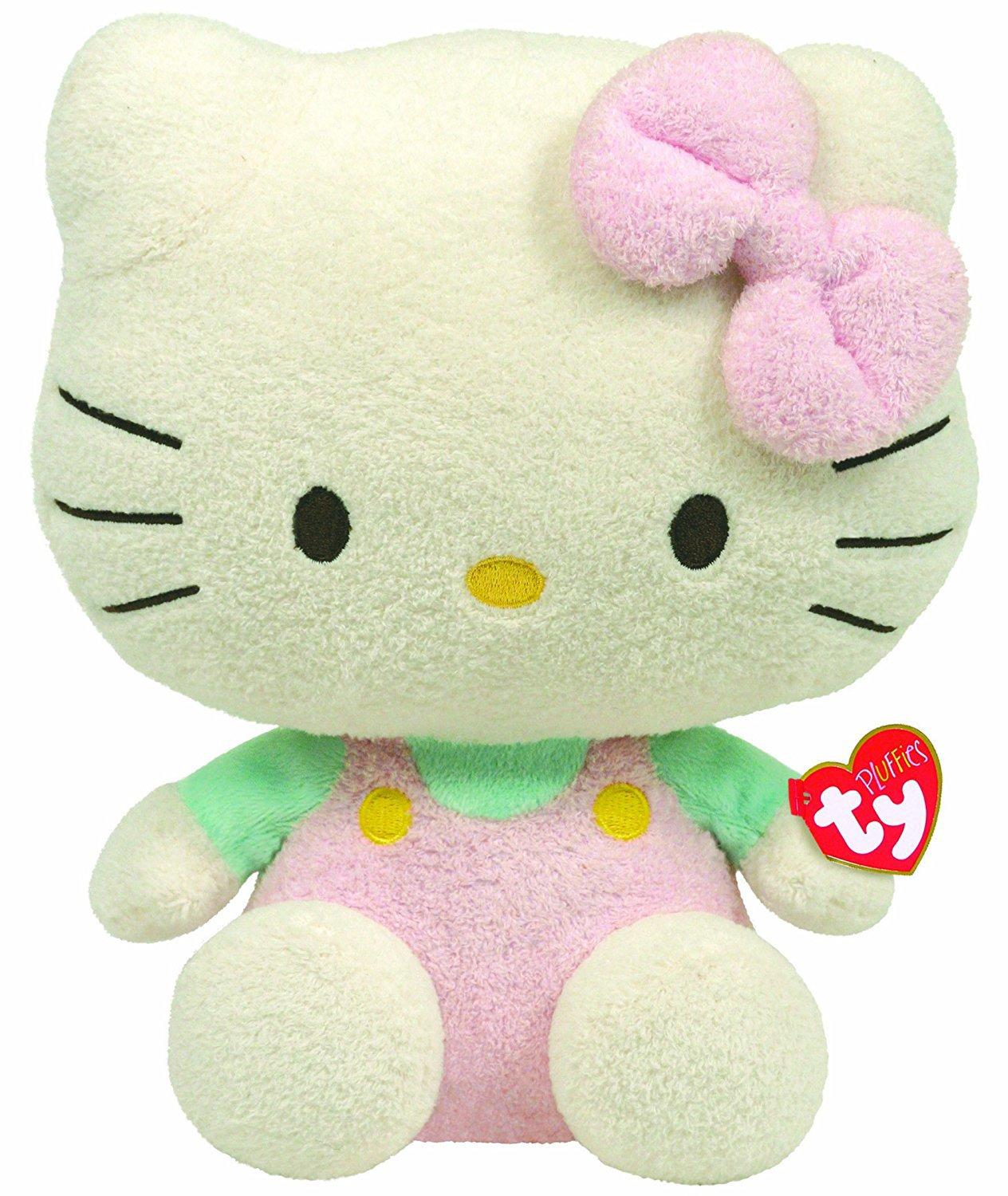 Ty Pluffies Hello Kitty - Pink Overalls With Mint Shirt (Medium) 32148