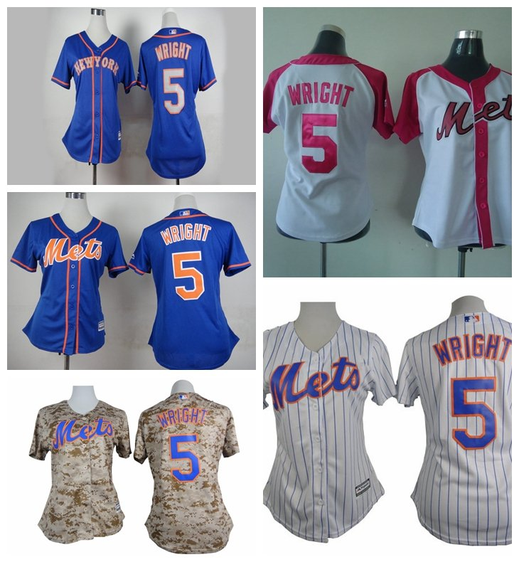 Women's New York Mets David Wright #5 Replica Baseball Jersey Multiple styles