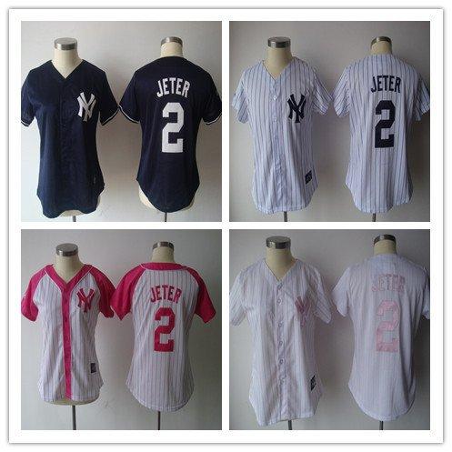 Women's New York Yankees Derek Jeter #2 Replica Baseball Jersey Multiple styles