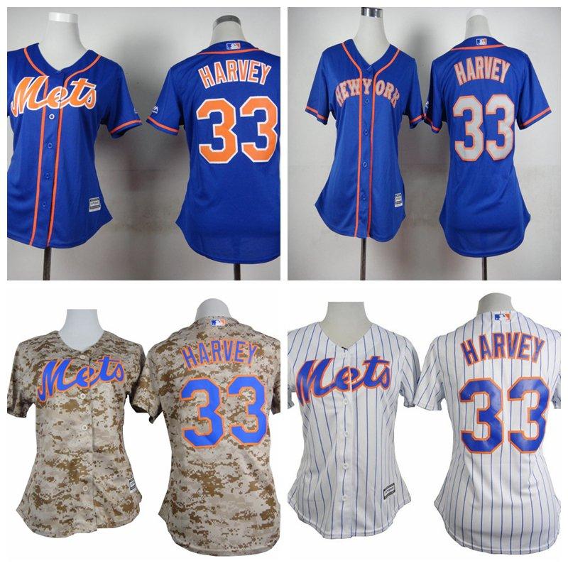 Women's New York Mets Matt Harvey #33 Replica Baseball Jersey Multiple styles