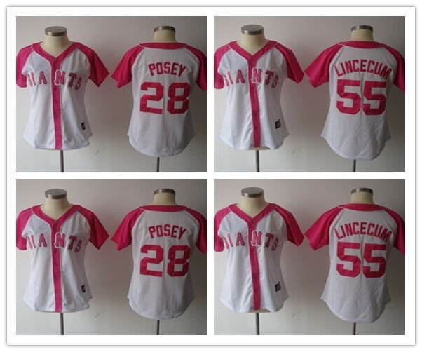 Women's  Giants Jersey Buster Posey #28 ,Tim  Lincecum #55 MLB  Replica Jersey