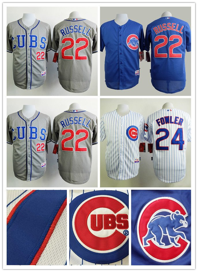 Dexter Fowler Chicago Cubs #24, Addison Russell #22  Replica Baseball Jersey Multiple styles