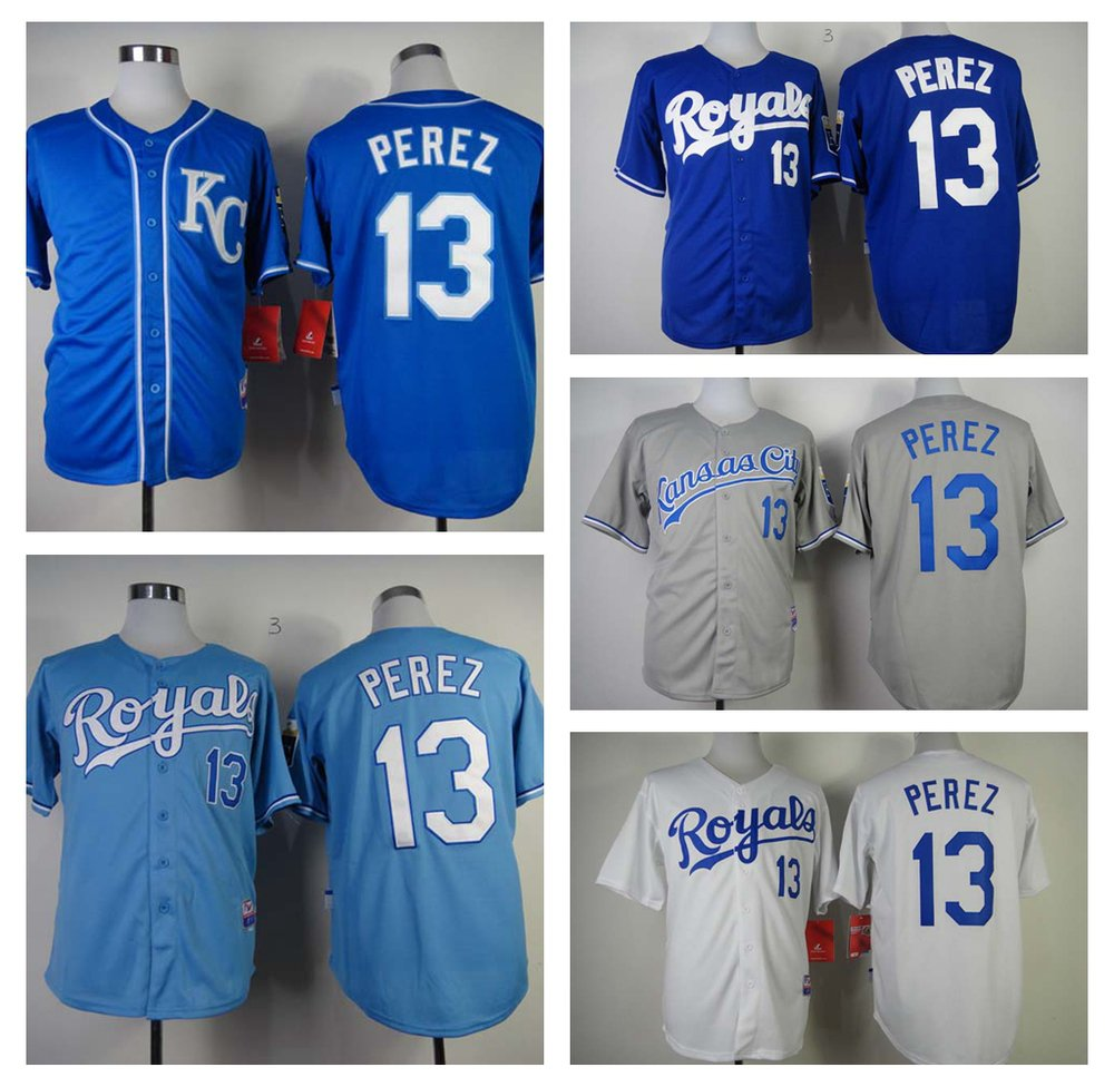 Salvador Perez Kansas City Royals #13  Replica Baseball Jersey Multiple styles