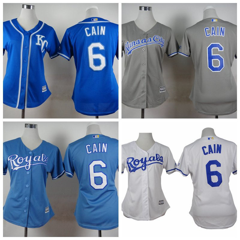 Women's Lorenzo Cain Kansas City Royals #6  Replica Baseball Jersey Multiple styles