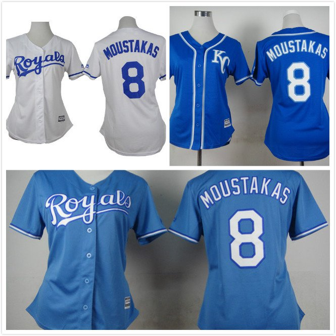Womens Mike Moustakas Kansas City Royals #8  Replica Baseball Jersey Multiple styles