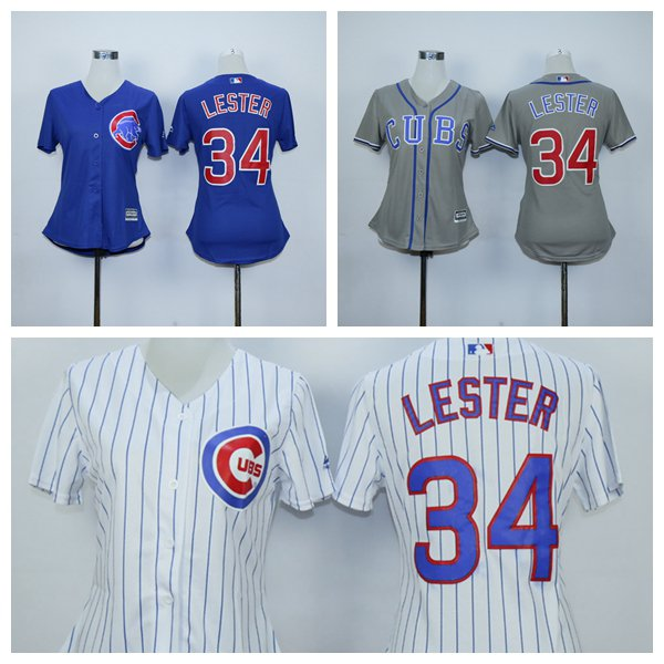 Womens Jon Lester  Chicago Cubs #34 Replica Baseball Jersey Multiple styles