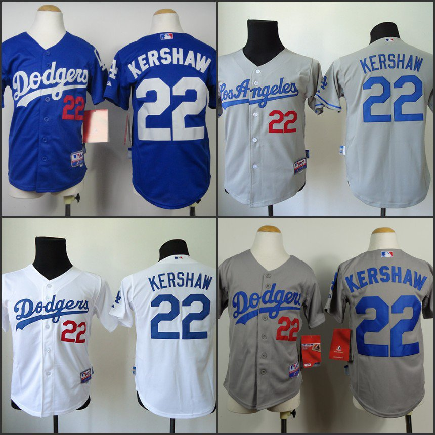 YOUTH Clayton Kershaw 2015 Los Angeles Dodgers #22 MLB Replica Jersey Multiple styles