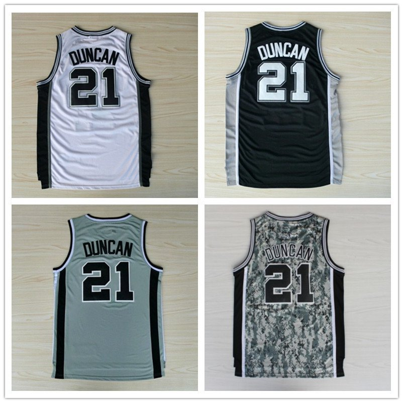 Tim Duncan #21 San Antonio Spurs Replica Basketball Jersey Multiple Styles