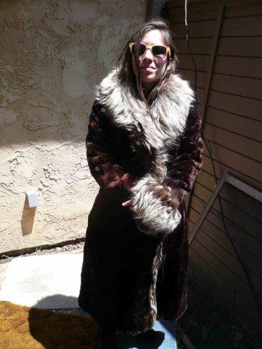 Rabbit/Velvet? Fur coat with Fox Trim (#109)