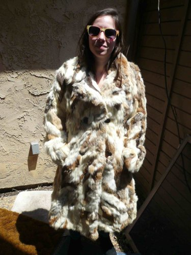 Full Length Patchwork Rabbit Fur Coat (#111)