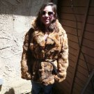 Brown Belted Rabbit Fur Jacket (#114)