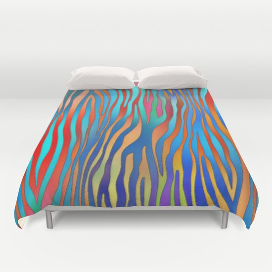 Colored Zebra  DUVET COVERS for QUEEN SIZE 1gEgfic