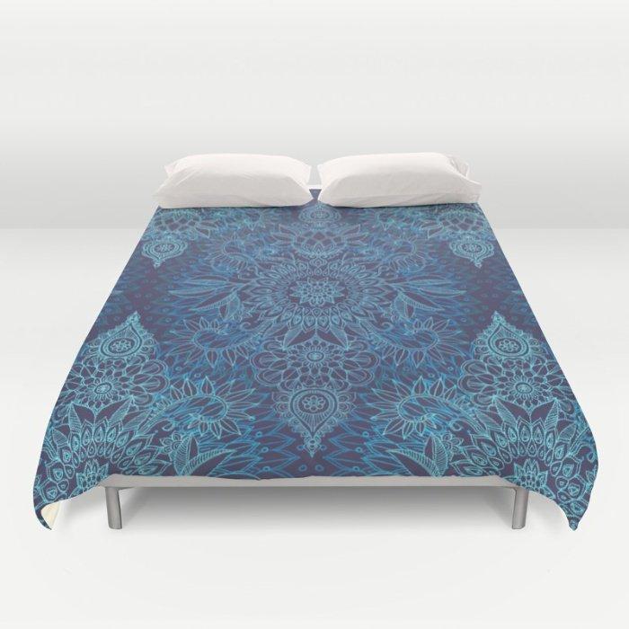 Aqua, Cobalt Blue & Purple Protea Doodle Pattern DUVET COVERS for QUEEN SIZE 24gXJPh