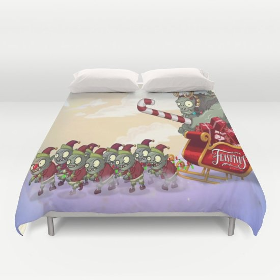 Zombie vs Plant Christmas DUVET COVERS for QUEEN SIZE 2fFZM0H