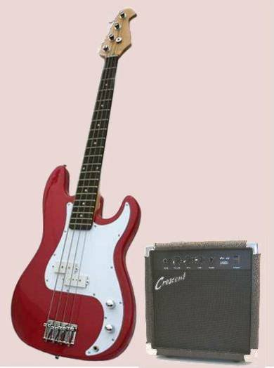 Bass Guitar Combo/Starter Kit Includes 10 Watt Amplifier, Red