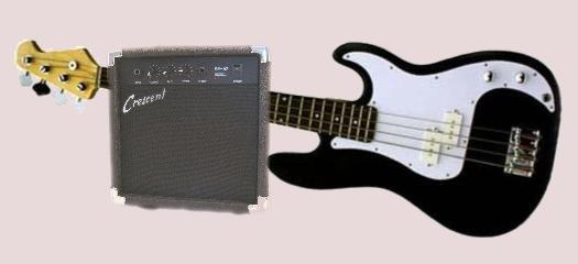 Bass Guitar Combo/Starter Kit Includes 10 Watt Amplifier, Black