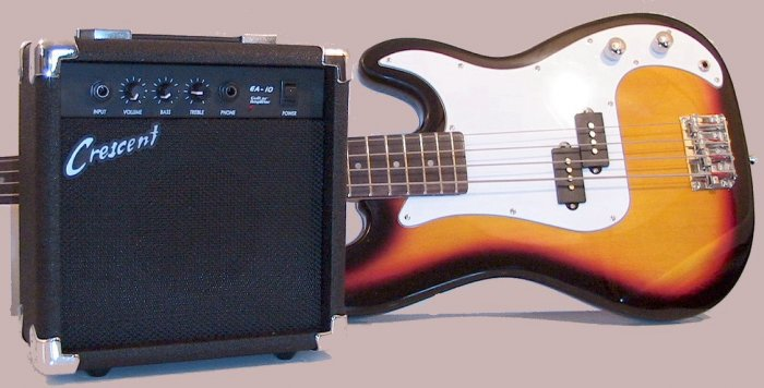 Bass Guitar Combo/Starter Kit Includes 10 Watt Amplifier,Many Colors