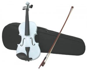 4/4 Violin with Accessories & Case Full Size, White