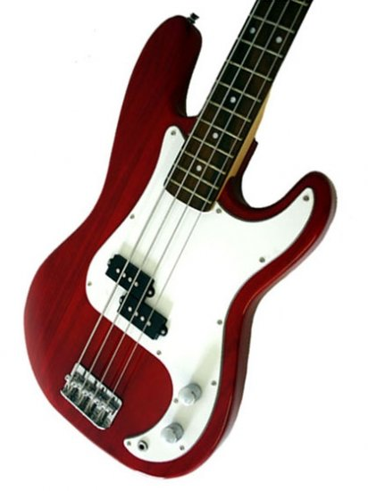 Bass Guitar, Transparent Red