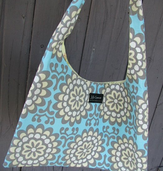 The Ashleigh Bag HandCrafted by JoJo Couture with Amy Butler Wall Flower Sky Designer Fabric