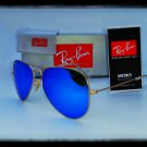 --FREE SHIPPING--Ray Ban 3025 112/17 Gold Frame, Blue Mirror Lens 58mm