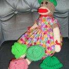 Bright Green Sock Monkey knit hat cap NEW Handmade