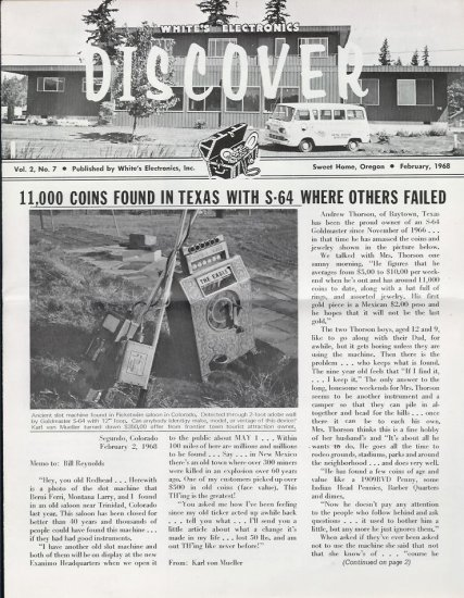 Discover Newsletter- White's Electronics  Feb 1968