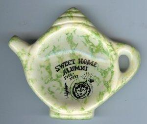 Sweet Home Alumni 1912-1992 Reunion Tea bag Holder Spongeware Grey Goose