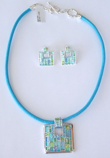 COOL BLUE ENAMEL AND SWAROVSKI CRYSTAL TOGGLE NECKLACE AND EARRING SET BY SCHANDRA JEWELRY