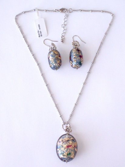 GOLDEN FLECKED EGG NECKLACE AND MATCHING EARRING SET BY SCHANDRA JEWELRY
