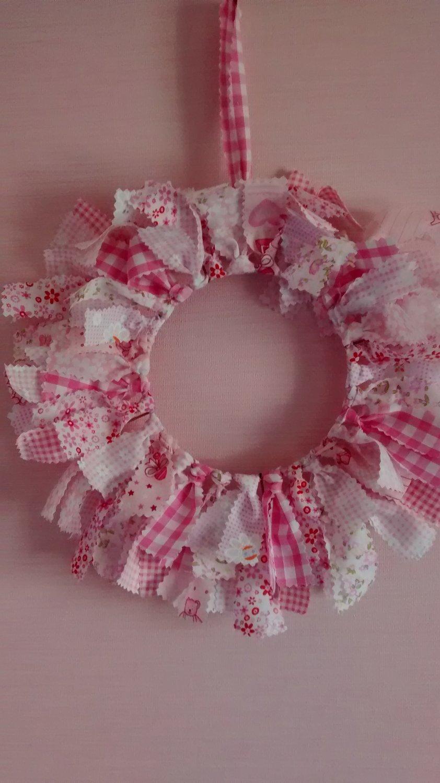 Baby pink nursery fabric wreath for Pink nursery fabric
