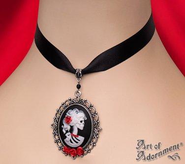 Gothic Lady Skull Skeleton Cameo Choker Black Satin Necklace Lolita Pendant C75